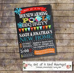 Pool party housewarming invitation house warming by myooakboutique