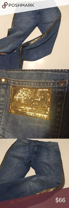 Roberto Cavalli embellished jeans Roberto Cavalli, Sz 46(12), lightly distressed,  medium washed blue jeans with gold colored metal mesh running down outer leg seams and a little on one back pocket (missing a couple little pieces). 27.5in inseam, ankle length, 8.5in ankle, 16.5in waist (flat), 10in crotch to waist. FABULOUS!!!💎💎💎 Roberto Cavalli Jeans Ankle & Cropped