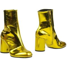 Maison Margiela 22 Ankle Boots ($420) ❤ liked on Polyvore featuring shoes, boots, ankle booties, yellow, zip ankle boots, leather ankle boots, ankle boots, leather booties and yellow ankle boots