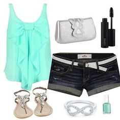 Summer outfit. In love with the top and sandals <3...........if I was skinny