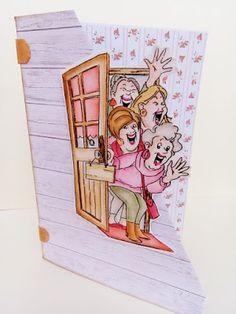 Birthday Cards, Happy Birthday, Cartoon People, Art Impressions, Creative Cards, Caricature, Artsy Fartsy, Watercolor, Diy