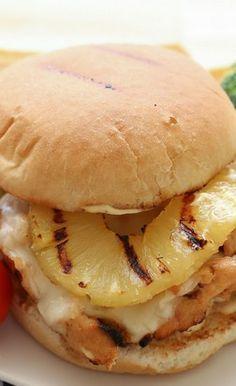 *****Hawaiian Grilled Chicken Sandwiches (served on pretzel rolls with honey mustard)