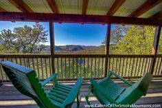 Here's a deck you could get used to. From a rental cabin called The Golden Jewel. Smoky Mountain Cabin Rentals, Smoky Mountains Cabins, Great Smoky Mountains, Outdoor Chairs, Outdoor Furniture, Outdoor Decor, Cabin Porches, Nice View, Jewel