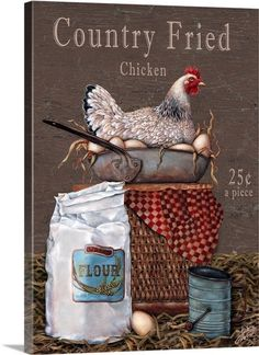 Country Fried Chicken Wall Art by Gloria West from Great BIG Canvas.Gloria West is known for her charming and whimsical holiday, seasonal and notional images, created in her own unique style.Alex The Pink House: Immagini gratis per lavori creativi. Rooster Art, Rooster Decor, Chicken Painting, Chicken Art, Vintage Labels, Vintage Cards, Arte Do Galo, Country Fried Chicken, Deco Champetre