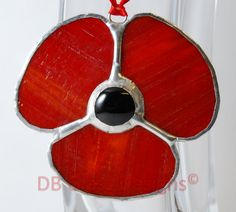 Handmade Red Stained Glass Poppy Suncatcher Gift by DBGlassDesigns