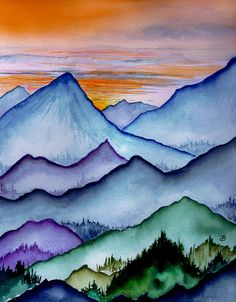 The Misty Mountains by Brenda Owen - The Misty Mountains Painting - The Misty Mountains Fine Art Prints and Posters for Sale Watercolor Landscape, Landscape Paintings, Watercolor Paintings, Sunset Landscape, Watercolors, Mountain Drawing, Mountain Art, Mountain Paintings, Art Plastique