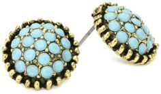 Yochi Turquoise Colored Stone Burst Brim Earrings Yochi. $38.00. Post earring. Made in USA