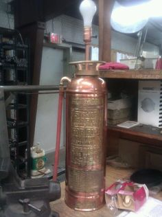Antique Brass Fire Extinguisher Lamp for a Friend.