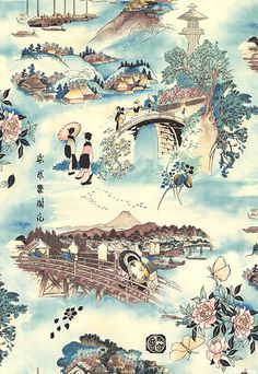 Indochine - Tokaido Road -  Quilt Fabrics from www.eQuilter.com