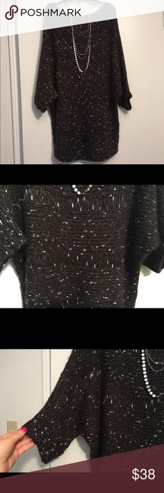 WARM❣️Nine West Woven Knit Tunic Sweater Adorable knit tunic sweater from Nine West! :: only worn once, like new! :: black with flecks of white and strands of sliver shimmer! :: questions and offers welcome :: bundle and save even more! ✨ Nine West Sweaters Shrugs & Ponchos