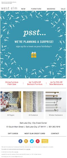 West Elm birthday preferences email 2014