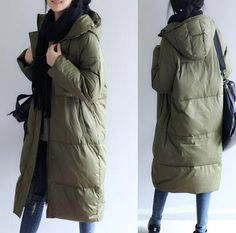 This is a winter down jacket fill with down.we design it with a very thick and warm style.this hooded down jacket could keep you very warm in the cold winter.the side pockets is very useful.a unique design women winter coat. for other down coat