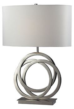 Polished Nickel Trinity Single-Light Metal Three Ring Table Lamp With Faux Silk Drum Shade #Polished #Nickel #Trinity #Single #Light #Metal #Three #Ring #Table #Lamp #With #Faux #Silk #Drum #Shade