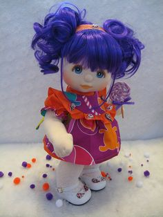 She even has the lollipop's on her shoes. My Child Doll, Doll Stands, Doll Repaint, Pretty Dolls, Soft Dolls, Custom Dolls, Fabric Dolls, Doll Patterns, My Children