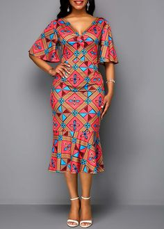 V Neck Tribal Print Butterfly Sleeve Dress Short African Dresses, African Blouses, Latest African Fashion Dresses, African Print Dresses, African Print Fashion, Africa Fashion, Ankara Fashion, Tribal Fashion, African Prints