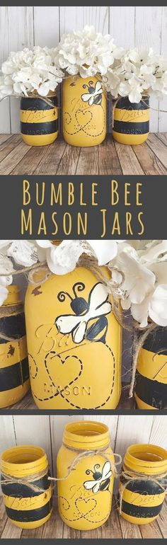 Bumble Bee Mason Jars - home decor, Set of 3 Mason jars, black and yellow stripes, table centerpiece Pot Mason, Mason Jar Gifts, Mason Jar Diy, Jar Crafts, Cute Crafts, Crafts To Make, Mason Jar Projects, Mason Jar Centerpieces, Birthday Centerpieces