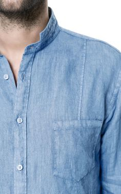 Image 3 of LINEN SHIRT WITH MAO COLLAR from Zara
