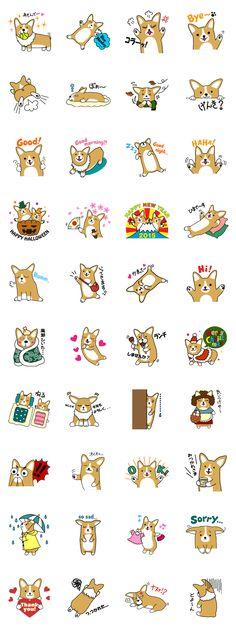 This sticker is full covering charms of the Corgi! When you have the Corgi, Let& enjoy talk at this sticker. Corgi Mix, Cute Corgi, Corgi Doodle, Puppy Meme, Corgi Breeds, Corgi Drawing, Pug Cartoon, Corgi Pembroke, Kawaii Doodles