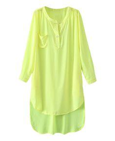 V-neck Asymmetric Solid-tone Long Shirt