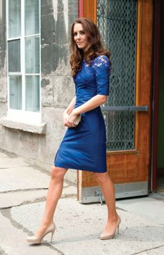 Kate Middleton's Influence On Fashion: lace top dress; she loves to wear nude pumps