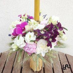 Lumanare botez BUJORI clematis orhidee - LB82 Clematis, Christening, Floral Wreath, Pastel, Concept, Wreaths, Candles, Flowers, Design