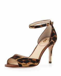 93bea5600f6d Nilah Leopard-Print Calf Hair Sandal, Natural by Vince Camuto Signature at  Neiman Marcus