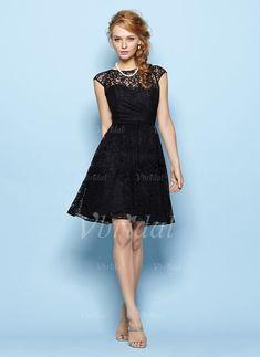 Bridesmaid Dresses - $122.34 - A-Line/Princess Scoop Neck Knee-Length Lace Bridesmaid Dress (0075057153)