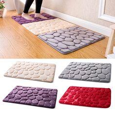 Details About Non Slip Pebble Flannel Bathroom Bath Rug Foam Pad