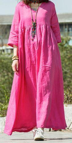 666d7eb6a09 Modern v neck wrinkled linen dresses Neckline rose Dress summer