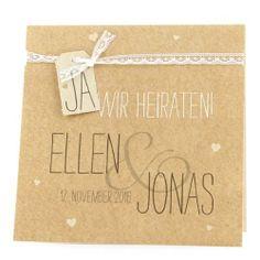"""Hochzeitseinladung """"Judy"""" - Hellbraune Einladungskarte im natürlichen Look von Weddix, http://www.amazon.de/dp/B00IG0WWF2/ref=cm_sw_r_pi_dp_Ub9stb18M34DF"""