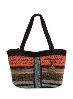 Bright and fun, our new Kenya tote is hand-crocheted featuring our favorite multis. Looks great with jeans and a white t-shirt, Crochet Purses, Crochet Bags, Hand Crochet, Straw Tote, Orange Bag, Diy Bags, Market Bag, Everyday Bag, Handmade Bags