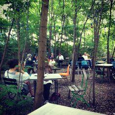Surreal bar in the woods at Prizessinnengärten community garden, Berlin.