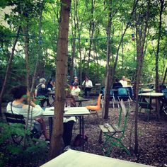 Surreal bar in the woods at Prizessinnengärten community garden, Berlin.