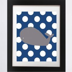 Gray Whale Poster (Land of Nod, It's a boy, Baby, Shower, Print, inspired, nautical, DIY, sailor, nursery, baby room, custom, navy, gray)