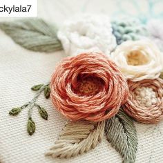 hand embroidered woven roses