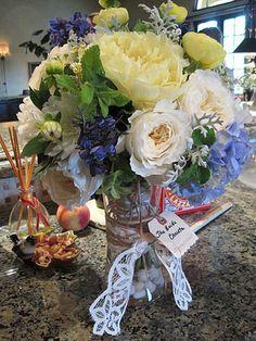 Peony, hydrangea and garden rose bride's bouquet, 6/2011