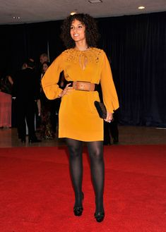 Alicia Keys Cocktail Dress - Alicia Keys went the more casual route at the White House Correspondents' Dinner in this mustard silk dress with a keyhole neckline.
