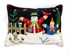 Christmas Holiday Felt Appliqued Snowmen by LittleHandcrafts, $39.00