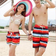 Retail Wholesales Summer ︻ Couple Men Women Colorful Striped  Beach (ツ)_/¯ Pants Surf Board Swim Shorts L-XXLRetail Wholesales Summer Couple Men Women Colorful Striped  Beach Pants Surf Board Swim Shorts L-XXL http://wappgame.com