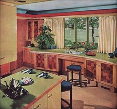 1963 Brave New Color in the Kitchen This kitchen is a great example of the ultra bright, exuberantly colorful rooms of the early 1960s. Very contemporary ... the use of color makes me smile! The jewel-tone sapphire rattan stools are particularly sweet. Source House Beautiful From the Mid Century Home Style collection. stool at sink extra counter workspace in niche at back