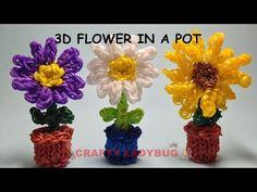 Rainbow Loom 3D SUN FLOWER/DAISY IN POT Charm Tutorials by Crafty Ladybug. Wonder Loom, DIY LOOM