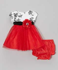 Take a look at this Red & Black Floral Dress & Diaper Cover - Infant by Rare Editions on #zulily today!