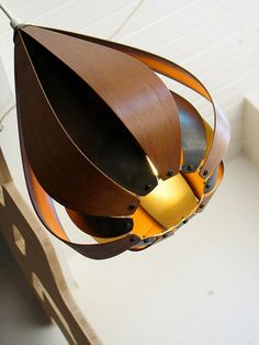 Vintage Teardrop Pendant Light - Mid Century Modern Lighting by Coronell of Denmark. The shade is made of thin teak pieces of wood for the o. Modern Pendant Light, Glass Pendant Light, Pendant Lights, Vintage Lighting, Cool Lighting, Modern Lighting, Lighting Design, Plywood Furniture, Wood Fence Design