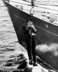 The Duke of Edinburgh Transfers to a Ship in the Mediterranean Sea during his military service.