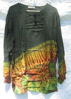 Green Top Shirt Blouse Long Sleeve Tie Dye Hippie Boho Size XXL 2X NWOT #BatikDesign #Blouse #tiedye