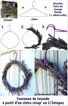 Lavender wreath from a hanger (tutorial) © Jardinement Vôtre ., Lavender wreath from a hanger (tutorial) © Jardinement Vôtre Lavender wreath from a hanger (tutorial) © Jardinement Vôtre. Lavender Crafts, Lavender Wreath, Deco Nature, Nature Decor, Home Crafts, Diy And Crafts, Wiccan Decor, Christmas Diy, Christmas Decorations