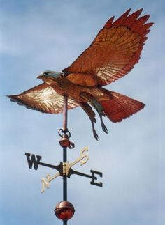 Flying Hawk Weathervane - Red Tailed - Brass & Copper