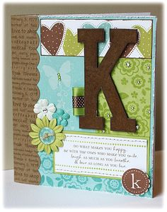 Composition notebook cover idea, would make a nice birthday card if you changed the k to a H and added happy birthday on tiny tags attached to the H. Composition Notebook Covers, Altered Composition Notebooks, Decorate Notebook, Diy Notebook, Scrapbook Cover, Scrapbook Cards, Scrapbooking Ideas, Mini Albums, Book Making