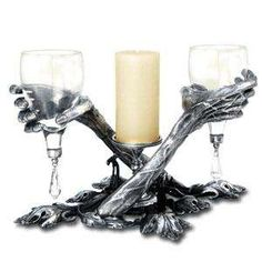 Alchemy Gothic Candle holders - The Alchemy Gothic candle holders are as creepy as candles can get. Adorned with skulls, skeletal hands and demonic creatures, these ornamental pie. Corpse Bride Wedding, Skull Wedding, Our Wedding, Dream Wedding, Wedding Stuff, Geek Wedding, Zombie Wedding, Pirate Wedding, Fantasy Wedding