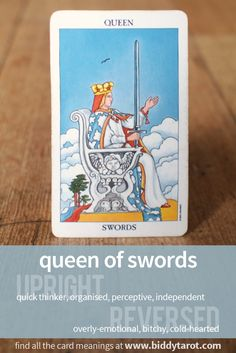 Queen of Swords #tarotcardmeaning learn more athttp://www.biddytarot.com/tarot-card-meanings/minor-arcana/suit-of-swords/queen-of-swords/